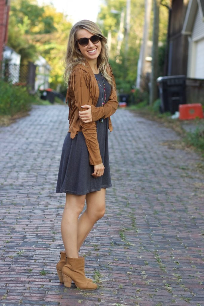 Suede Jacket and Booties with Little black Dress