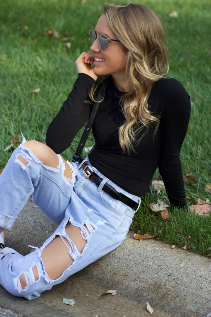 Boyfriend Jeans and Bodysuit
