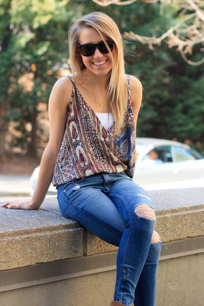 Chaser Brand Patterned Tank and Distressed Denim Jeans